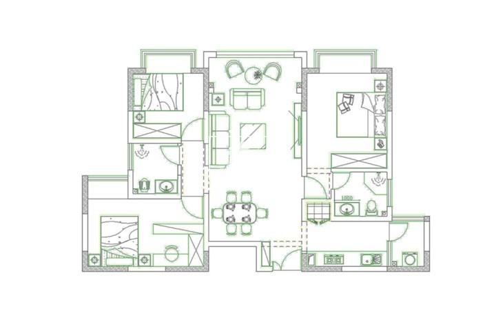 昆明建礼家园104㎡ 新中式风格装修案例