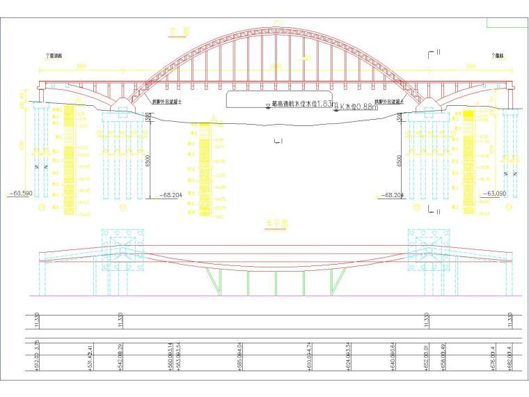 30+110+30m钢管混凝土中承式提篮拱特大桥梁施工图(175张)_5