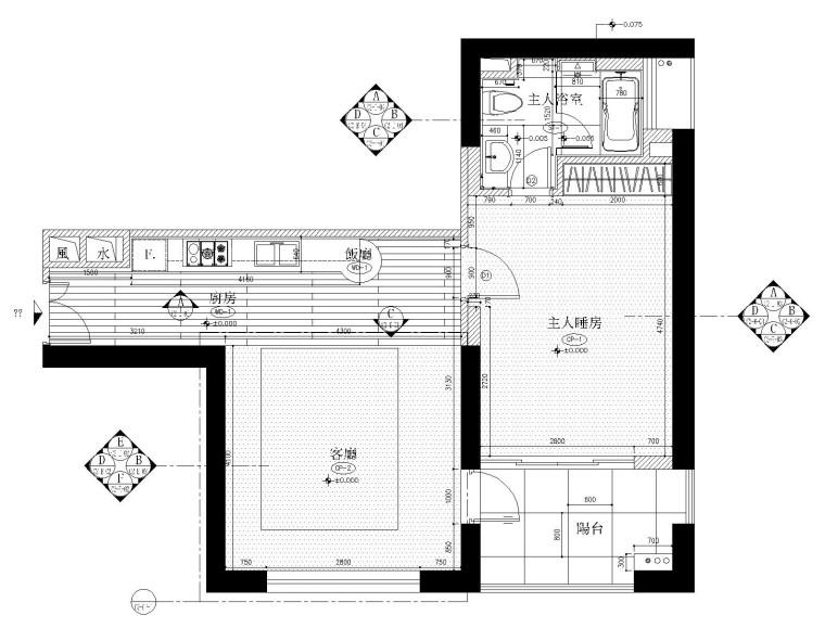 天花布置图   客厅厨房立面图a  客厅厨房立面图b 卧室立面图  卫生间图片