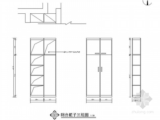 [北京]中式風情三居室室內cad裝修施工圖(含效果圖)柜子三視圖圖片