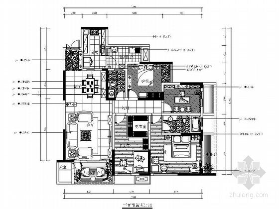 [重庆]温馨典雅3居室室内设计CAD施工图