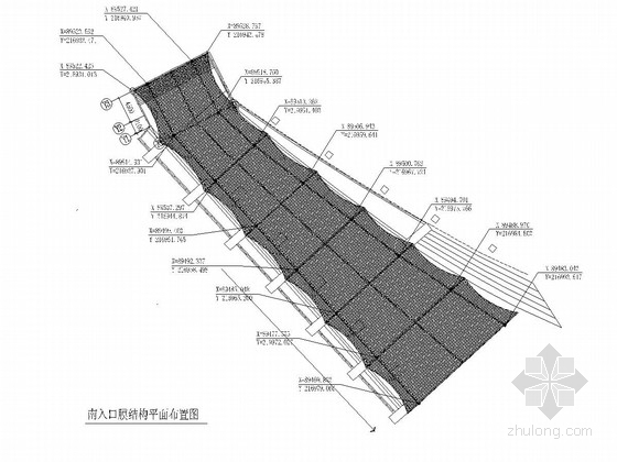 [山东]钢骨架式膜结构地下通道入口结构施工图