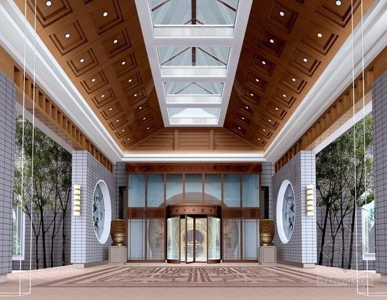 [河北]奢华古典山水园林式宾馆精装修设计方案图入口门厅效果图