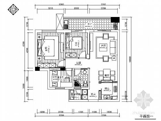 [浙江]现代风格两居室装修施工图(含效果图)