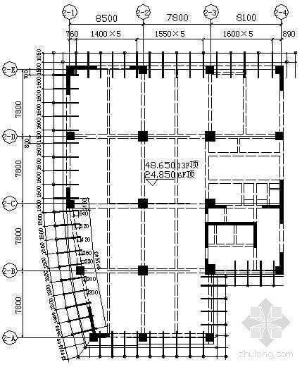某工程6F、13F顶悬挑工字钢平面布置图