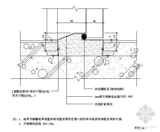 S4 气密式不锈钢门槛大样图