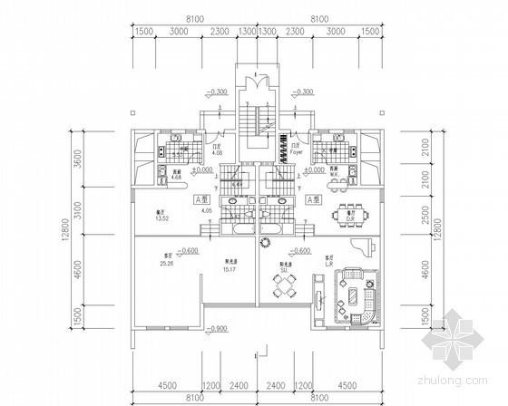 [北京]某四层叠拼别墅户型平面图(170、190平方米)