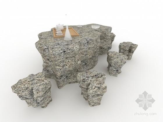 花岗岩石桌凳3d模型下载