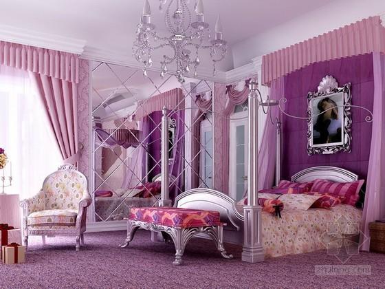 紫色浪漫欧式卧室3d模型下载