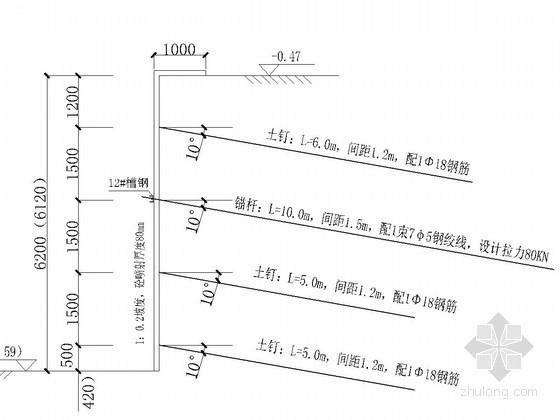[河北]土钉墙基坑支护施工组织设计(附计算书 CAD图)