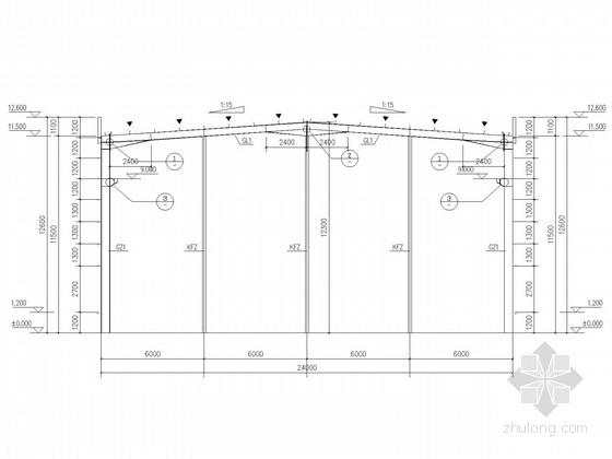 [武汉]24米跨门式刚架厂房带吊车结构施工图
