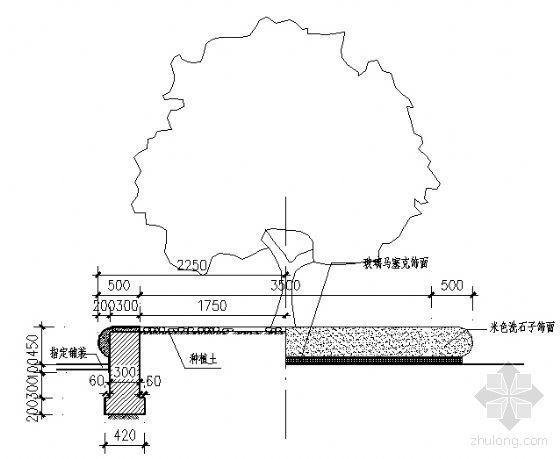 洗石子树池详图