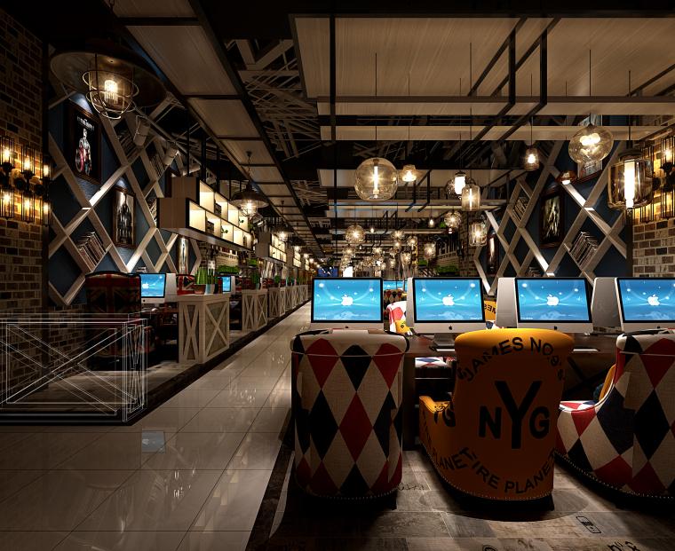 英伦风网吧网咖室内空间设计施工图(附效果图)-大厅