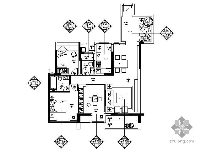[珠海]和室禅风概念三居样板房施工图(含效果)