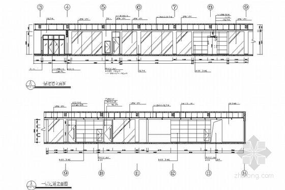 [浙江]皮革之都生产出口时尚皮草公司研发中心施工图 通道立面图