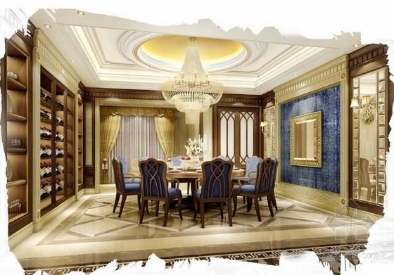[佛山]高层住宅区奢侈欧式四居室样板间设计方案餐厅效果图