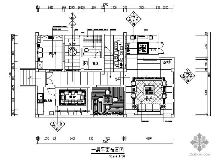 某新中式三层别墅室内装修图(含效果)