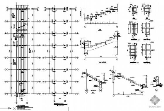 某体育场看台楼梯与基础结构图