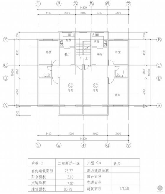 板式多层一梯两户二室二厅一卫户型图(86/86)