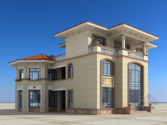 三层欧式别墅建筑3d模型