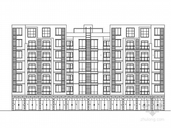 [广元]某小区七层底商住宅楼建筑方案图