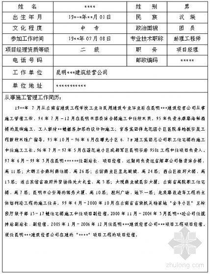[昆明]建筑业企业优秀项目经理申报表(填写实例)