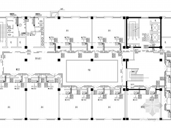 小高层办公楼空调通风防排烟系统设计施工图(含给排水设计 风机盘管配电)