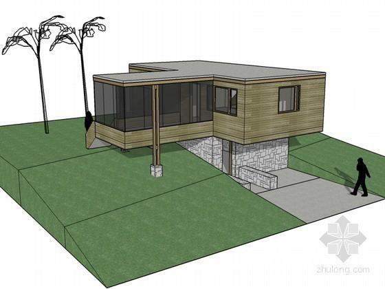 坡地住宅建筑SketchUp模型下载