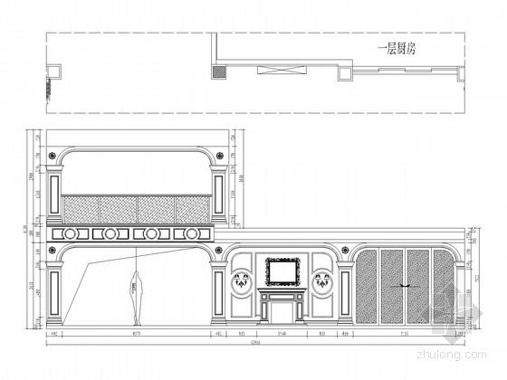 [江苏]欧式豪华顶尖独栋别墅CAD施工图(含效果图) 玄关餐厅立面图