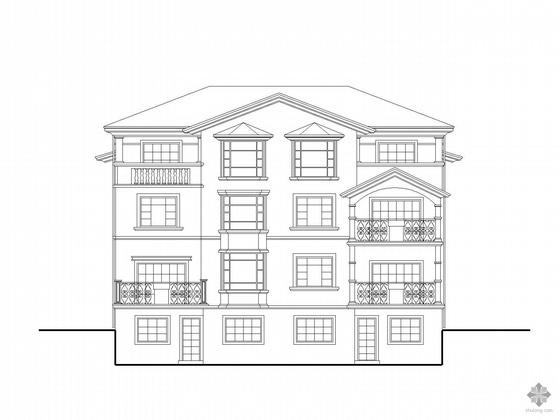 [北京]某三层北入口欧式双拼别墅建筑施工图