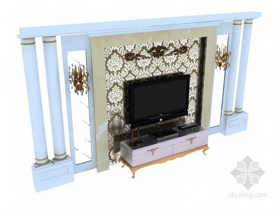 欧式电视背景墙3D模型下载