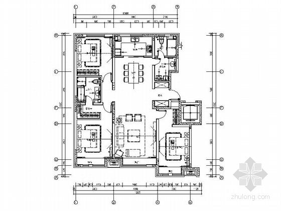 [吉林]现代风格三居室样板房室内设计装修图