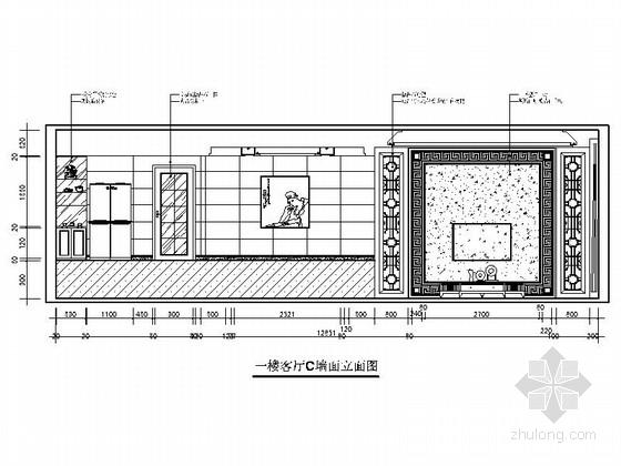 [上饶]商业中心区新中式四层别墅装修施工图客厅立面图