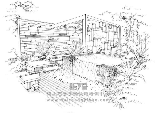 景墙的画法步骤图解析:庭院中间有道墙_5
