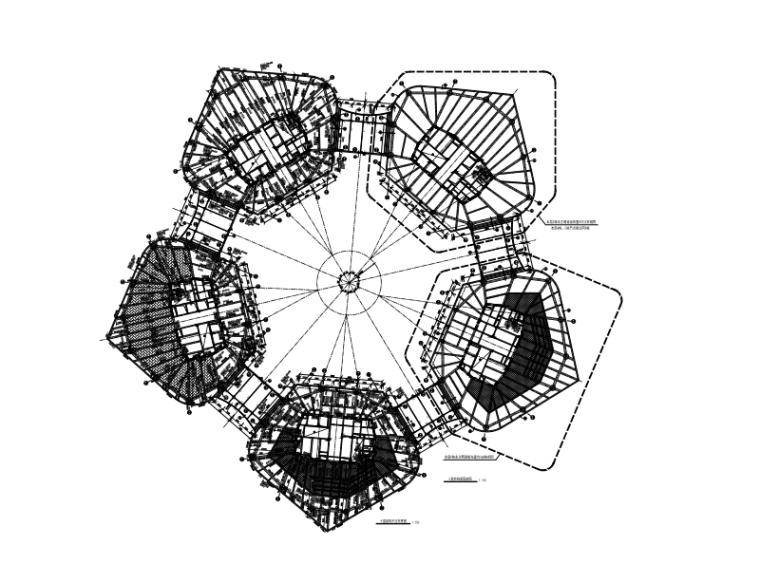 5栋框筒结构办公商业餐饮集一体大厦结构施工图(CAD、65张)