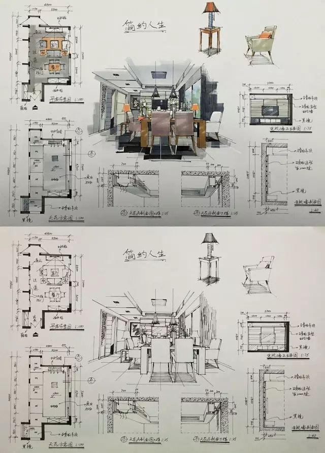 室内手绘 室内设计手绘马克笔上色快题分析图解_42