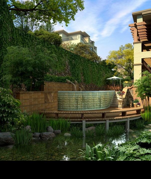 [120套]免费!别墅庭院花园+私家屋顶花园景观效果图PSD源文件