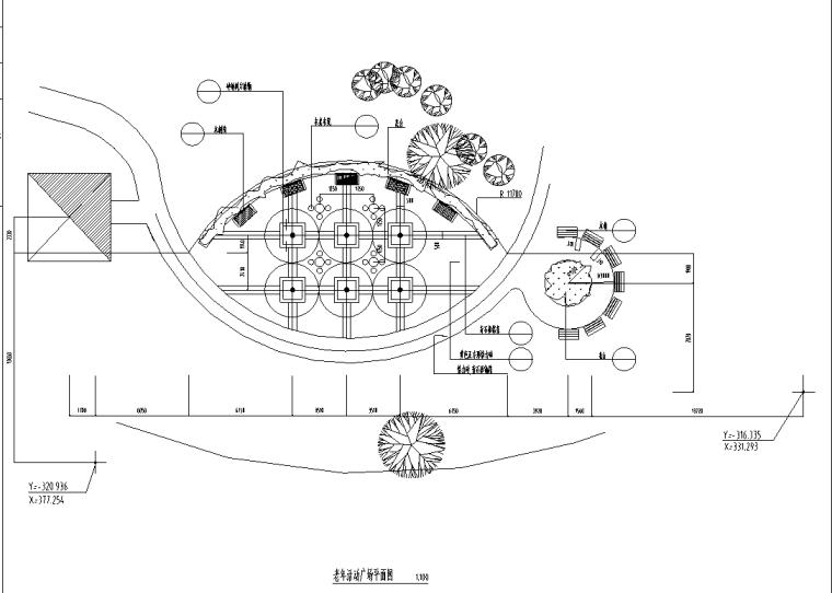 万科城市花园部分景观设计施工图-活动广场平面图