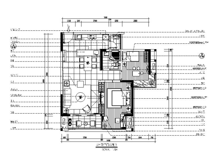 [重庆]现代简约风格样板房CAD施工图(含效果图)