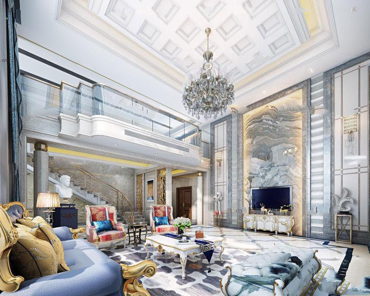 欧式新古典客厅装修资料下载-新古典欧式别墅客厅3D模型
