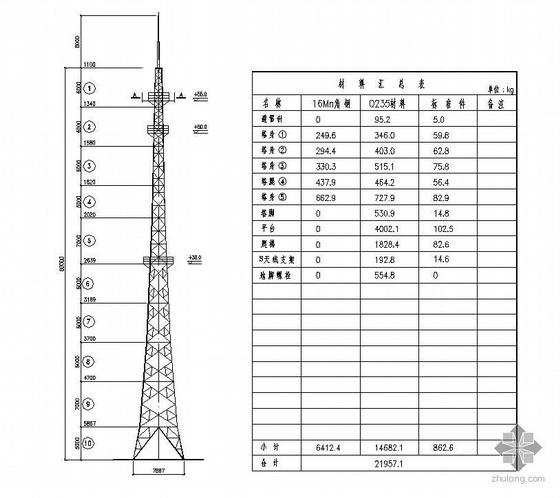 某60米高通讯铁塔结构图纸