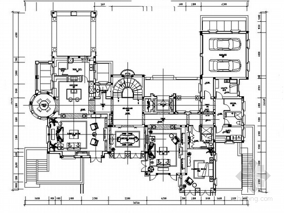 [杭州]美式古典双层别墅室内装修施工图