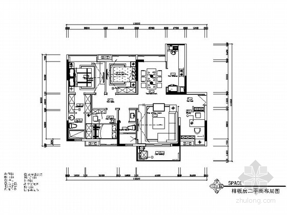 [湖南]现代简约风格四居室室内装修施工图(含高清效果图)