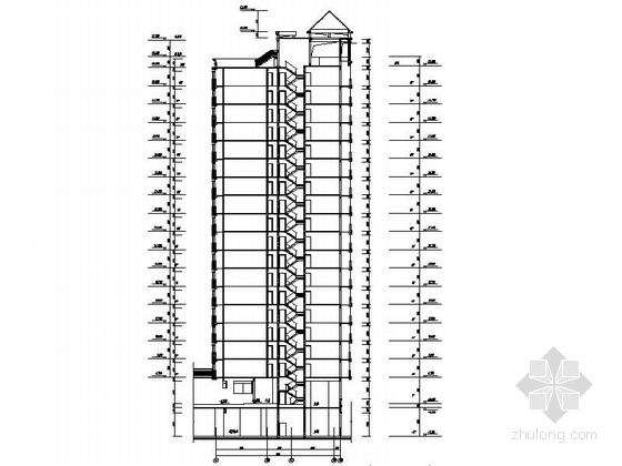 [深圳]古典风格城镇中心地块高层商住两用建筑施工图-古典风格城镇中心地块高层商住两用建筑剖面图