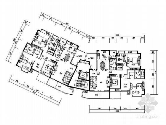 [成都]某高层板式住宅户型图(带入户花园)