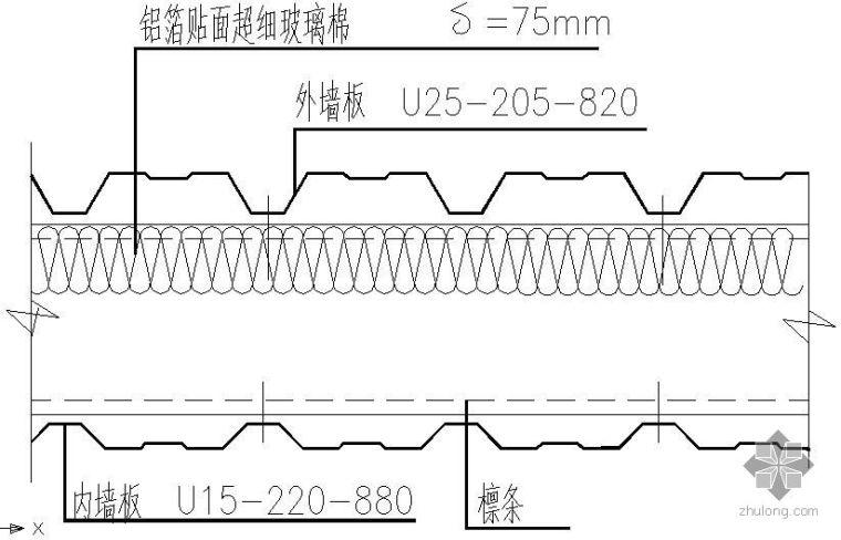 某墙面复合彩板节点构造详图[2]