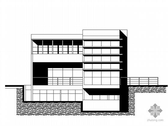 某三层山地别墅建筑方案图(局部两层)