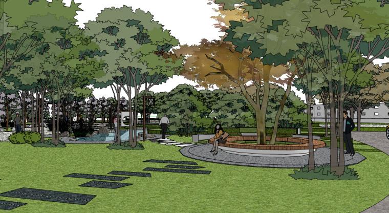 新中式小区景观SU模型——林间休憩地