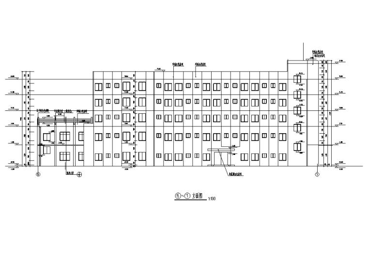 某大学现代多层食堂综合楼建筑设计施工图CAD