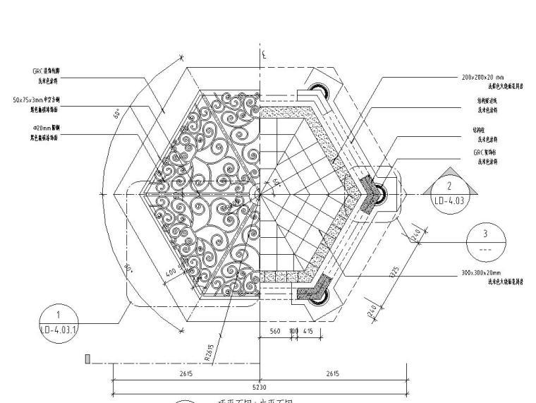 欧式风格亭子详图设计(钢筋混凝土结构)